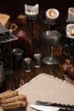 Bränd stearinljus på tabellen Royaltyfri Foto
