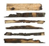 Bränd till kol wood planka royaltyfri fotografi