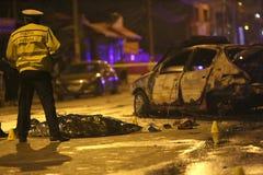 Brända bilar i olycka Arkivfoton
