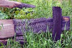 Brända bräden av ett trästaket i grönt gräs och vegetation Arkivbild