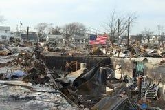 Brända hus i efterdyningen av orkanen som är sandig i Breezy punkt, NY Royaltyfri Fotografi