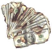 Brända pengar Arkivbild