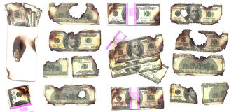Brända pengar Royaltyfri Fotografi