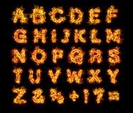 Brännande bokstäver för flammabrandalfabet Royaltyfri Bild
