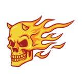 Brännande brandvektor för skalle stock illustrationer