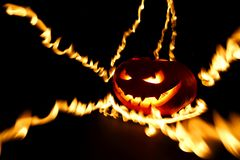brännande halloween pumpa Fotografering för Bildbyråer