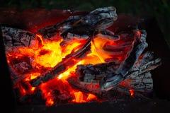 Brännande kol i fireplasen royaltyfria bilder