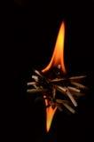 Brännande matchcloseup Arkivfoto