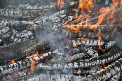 Brännande oggr, varma glöd Grillfest galler, kebab royaltyfri fotografi