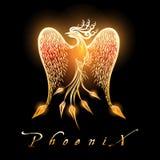 Brännande Phoenix fågel på svart bakgrund royaltyfri illustrationer