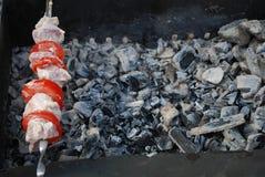 bränner till kol kebab över steknålen Arkivbild