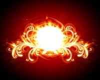 brännhet blom- ram royaltyfri illustrationer