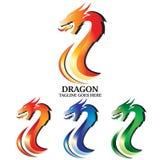 Brännhet Dragon Emblem Vector Logo Concept design vektor illustrationer