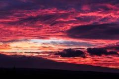 Brännhet solnedgång i bygden Royaltyfri Foto