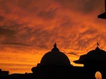 Brännhet solnedgång i Indien Arkivfoto