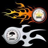brännhet speedometer vektor illustrationer