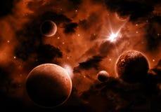 Brännhet utrymmehimmelbakgrund vektor illustrationer