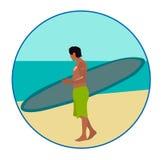 Bränning-ridning man på strandtecknet Fotografering för Bildbyråer