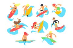 Bränningfolktecken med surfingbrädaridningvågor ställde in, tecknad filmvektorillustrationer på en vit bakgrund royaltyfri illustrationer