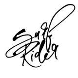 Bränningryttare Modern kalligrafihandbokstäver för serigrafitryck Royaltyfri Bild