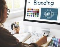Brännmärka begrepp för idédesignIdentitiy marknadsföring arkivbilder