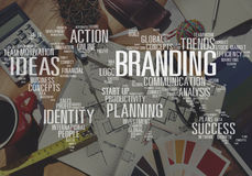 Brännmärka begrepp för varumärke för värld för marknadsföringsadvertizingidentitet