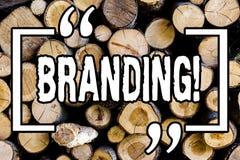 Brännmärka för ordhandstiltext Affärsidé för att skapa en unik identitet för trä för tappning för startbyråträbakgrund arkivbild