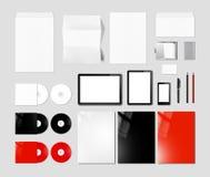 Brännmärka identitet planlägg modellmallen, grå bakgrund royaltyfri fotografi