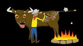 Brännmärka-MELLANRUm-tjur-animera-genomskinligt arkivfilmer