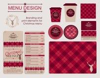 Brännmärka och tryckbeståndsdelar för julmeny Royaltyfria Bilder