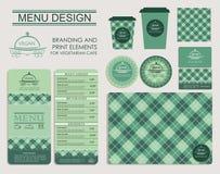 Brännmärka och tryckbeståndsdelar för vegetariskt kafé Royaltyfria Bilder