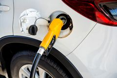 Bränsle för olje- gas för påfyllning och för fyllning på stationen Bensinstation - tanka Att att fylla maskinen med bränsle Arkivbilder