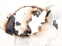 bränt hålpapper Arkivfoto