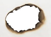 Bränt pappers- hål Arkivbild