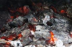 Bränt trän, brand, mat, rök arkivbilder