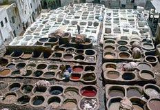 Bräunende Bottiche, Fez, Marokko lizenzfreies stockfoto