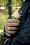 Bräutigam, der rosafarbenen Boutonniere anordnet Lizenzfreie Stockfotos