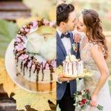 Bräutigam hält geschmackvolle Hochzeitstorte, während Braut für einen Kuss erreicht Stockfotografie