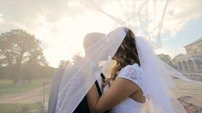 Bräutigam küsst die Braut unter einem Schleier stock video