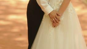 Bräutigam streicht zart den Arm der Braut und hält ihre Hände Kein Gesicht Unbekannte Paare von Jungvermählten stock video