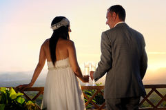 Bräutigam und Braut, die auf einer hinteren Ansicht des TerrassenBlickkontakts rösten Lizenzfreie Stockfotos