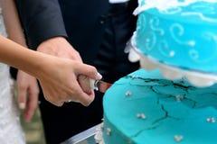 Bräutigam und Braut, die den Kuchen schneiden Stockbilder