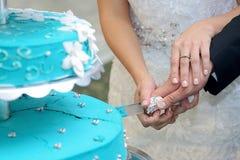 Bräutigam und Braut, die den Kuchen schneiden Lizenzfreie Stockfotos