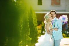 Bräutigam und Braut und Gras Lizenzfreie Stockfotografie