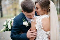 Bräutigam und Braut zusammen Gleichheit, Krawatte und Kristallschmucksachen stockbilder