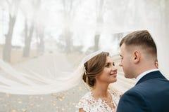Bräutigam und Braut zusammen Gleichheit, Krawatte und Kristallschmucksachen lizenzfreie stockfotos