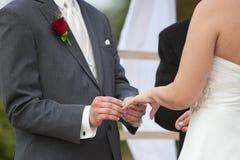 Bräutigam- und Brautringaustausch Stockfotos