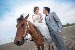 Bräutigam- und Brautumarmung Stockbilder