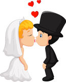 Bräutigam- und Verlobtkuß der Karikatur A Lizenzfreies Stockbild