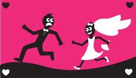 Bräutigamlack-läufer weg von der Braut Stockbilder